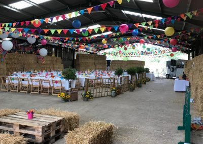 All ready for a truly rustic wedding reception in the family barn.